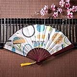 Ventaglio pieghevole giapponese racchetta da badminton e racchetta da tennis con cornice di bambù Pendente nappa e borsa di stoffa Ventilatori tenuti in mano per le donne Ventilatori a mano divertent