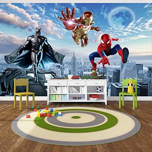 Kids Room Junge Schlafzimmer Zeichentrickfilm Anime Tapete 3d Dreidimensionales Ölgemälde Spider-man Superman Wandwand Wand Malerei 4 qm Nahtlos perlenden Tuch
