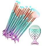 cinidy Makeup Brushes Set 11pcs 3d Mermaid Cosmetic Makeup Brush Brushes Eyeshadow Eyeliner Blush Brushes