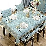 LIAN Tischtuch Tischdecke Stoff Tee Tischdecke Tuch rechteckige Tischdecke Blau Home Decor Tisch Western Restaurant (Farbe : Blue, Größe : 65 * 65cm)