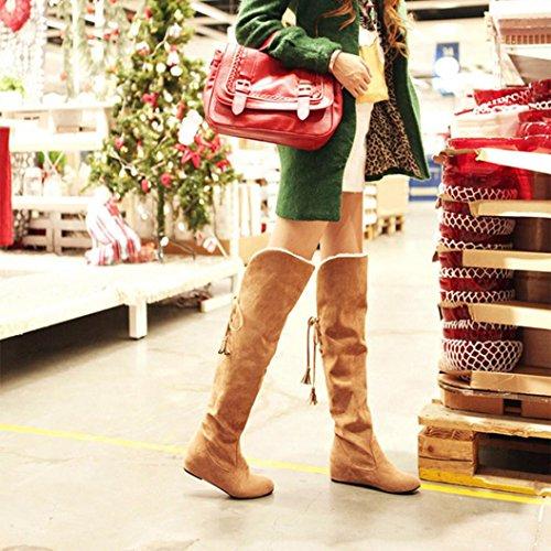 Longra Stivali tacco alto da donna con tacco piatto in caldo in pelle nabuk con tacco Cachi
