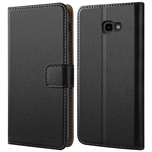 HOOMIL Handyhülle für Samsung Galaxy J4 Plus Hülle, Premium Leder Flip Schutzhülle für Samsung Galaxy J4 Plus Tasche, Schwarz