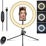 10 inch Selfie Ringlicht met Statief, 3 Kleuren 10 Helderheidsniveaus LED Ring Licht met Afstandsbediening Externe Selfielamp