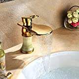Y&S Robinet de lavabo en jade naturel en laiton doré