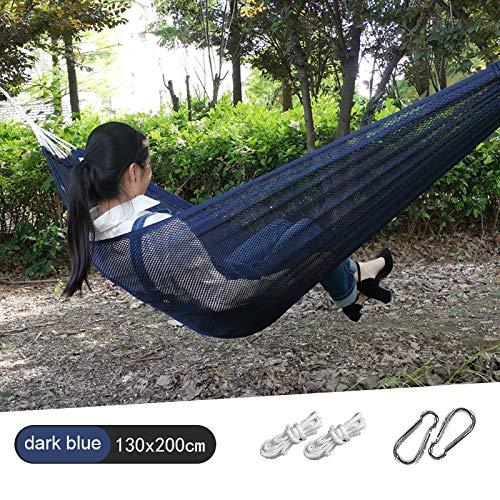 JYDC Outdoor Camping Mesh Hängematte Atmungsaktive Sommer Studentenwohnheim Haushalt Tragbare Kinder Schaukel Leichte Wiege Atmungsaktiv 130 * 200 cm, 150 * 200 cm,darkblue,130 * 200cm