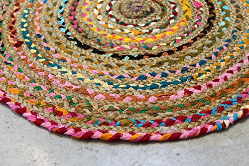 ALFOMBRA REDONDA- Alfombra de salon MOD. BCM 103 - 50% algodón 50% yute - DIÁMETRO 80 cm.