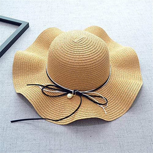 Bögen Perlen Mode Wellenförmige Seite Damen Große Kante Strandhüte Urlaub Ferien Sonnenschutz Sonnenschutz Literary Folding Outdoor Visier,Khaki