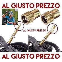 2 Adaptadores de válvulas universales - desde PRESTA hasta SCHRADER para bicicletas de carreras y bicicletas de montaña - Inflables con compresor o bomba de pie - Made in Italy - AlGiustoPrezzo®™