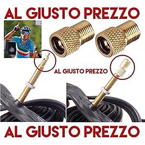 61ollJXImjL. SS300 2 Adattatori Universali per Valvole - Da PRESTA a SCHRADER specifici per Bici da Corsa e Mountain Bike - Gonfia con il compressore o la Pompa a pedale - Made in Italy - AlGiustoPrezzo ® ™