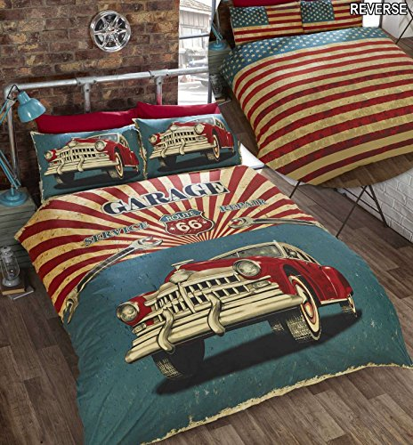 Retro Car King Size Duvet Cover and 2 Pillowcase Bed Set Bedding Bedlinen