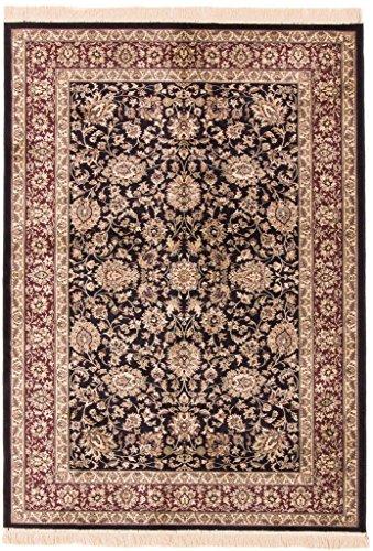 CarpetFine: Kaschmir Viscose Teppich 151x210 Schwarz,Violett - Maschinengewebt - - Kaschmir-schwarz-teppich
