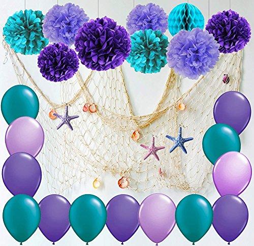 Furuix Mermaid Partydekorationen / unter dem Meer Party Teal Lavendel lila Seidenpapier Pom Pom Latex Ballons Fischnetz mit Muscheln und Starffor Meerjungfrau Geburtstag Dekor Baby Shower Dekorationen (weiß)