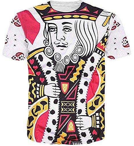 ner König der Herzen Spielkarte Tshirt Weiß Grafik T-Shirt (Wahnsinnige Kostüme)
