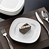 Dessertteller, Malacasa, Serie Regular, Cremeweiß Porzellan Teller 6-tlg. Set 8 Zoll / 20x20x2cm Abgerundet Essteller Kuchenteller Tafelservice Serviergeschirr