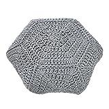 Design Strick Pouf COSY IV grau Sitzhocker in Handarbeit gestrickt Fußhocker Sitzpouf gepolstert Kissen Bodenkissen Wohnaccessoire