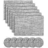 Manteles Individuales Práctico de costa (Paquete de 6) Antidesgaste y Lavable y Resistente Al Calor Antideslizante Fácilmente Almacenado(Gris)