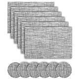 Vkatech 6er Set Platzsets Rutschfest Abwaschbar Tischmatten PVC Vinyl Rutschfest Hitzebeständig platzdeckchen(grau)