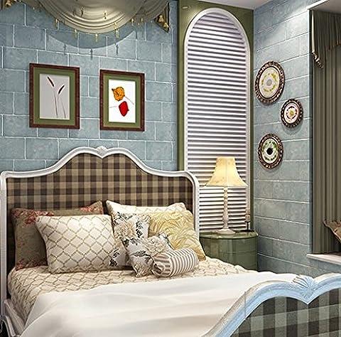 Hy-non-woven Chiffon papier peint Brick-living pièce Fond papier peint Design Boutiques fabriqué Study Bleu clair