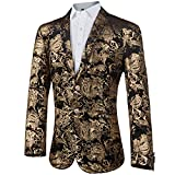 GOMY Slim Fit Herren Bunter Sakko Muster Casual Blazer Jacke Hochzeit Party