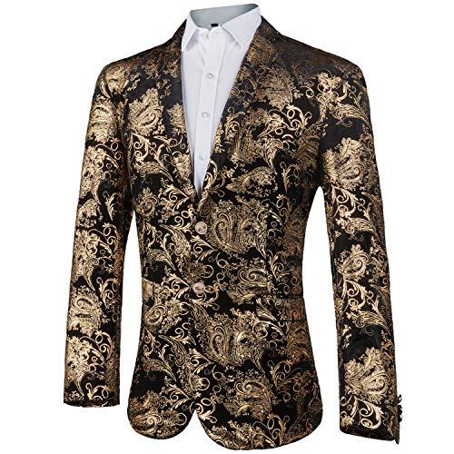 GOMY Slim Fit Herren Bunter Sakko Muster Casual Blazer Jacke Hochzeit Party