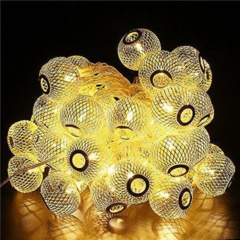 Samoleus Lanternes Forme LED Christmas Lights, 9,5 M 50 LED 8 Modes Boule Fairy Décoration String Light pour Jardin, Party, Mariage, Vacances, Fenêtre,(Blanc chaud-Grande lanterne)