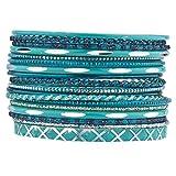 Lux Accessoires Turquoise Paillettes indien Mariage Boho Bracelet multi Lot de 17PC