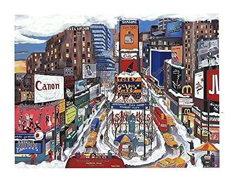 Signé 1995Linnea Pergola Times Square dans la neige Serigraph