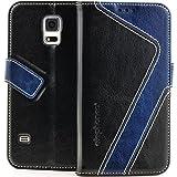 elephones Handyhülle Samsung Galaxy S5 / S5 Neo Hülle Schutzhülle Handytasche Case Cover mit Stand Kartenfächer Geldscheinfach Schwarz