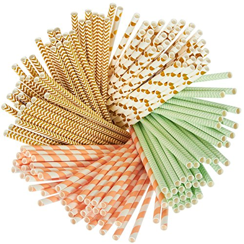 (160-er Papier Trinkhalme–biologisch abbaubar, mint grün, metallic gold, Polka Dots, Koralle Streifen, und Chevron Design Bulk Trinkhalme)