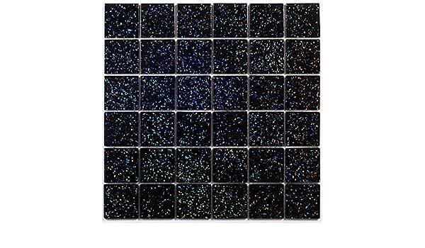 Vetro mosaico piastrelle opaca in nero con strass mm spessore