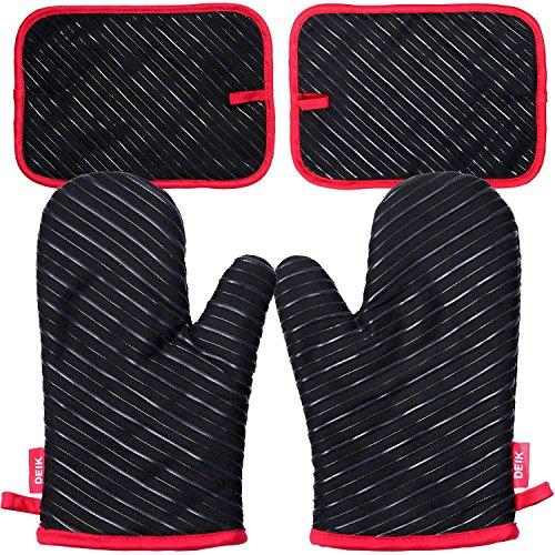 Deik Ofenhandschuhe und Topflappen,Hitzebeständige Handschuhe bis zu 240℃, Silikon Anti-Rutsch Grillhandschuhe, Geeignet für Kochen, Backen, Grillen, Schwarz