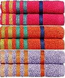 #10: Casa Copenhagen Exotic Cotton 475 GSM 6 Pack Hand Towels - Pink, Drewberry & Orange