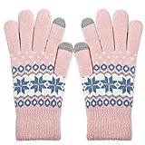 ECOMBOS Touchscreen Handschuhe Damen - Frauen Winter Warm Handschuhe Touch Screen Fäustlinge mit Fleecefutter, Weihnachten Geschenke für Damen Mädchen (Schnee-Rosa)