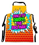 Fresh Publishing Ltd 'OMG It's Darryl The BBQ Man!', Personalised Name, Humorous Comic Art Design, Canvas Apron, Size 25in x 35in approximately