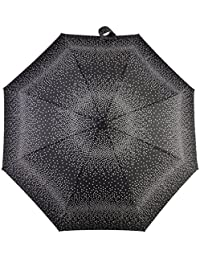 Totes X-tra Strong Automatic Wind Resistant Ladies Folding Umbrella - Black & White Graduated Spots