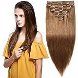 Extension Capelli Veri Clip Castano 6# Volumizzante - 35cm 120g - 8 Fasce Folte Double Weft Full Head 100% Remy Human Hair Lisci