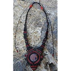 Collar macramé con obsidiana caoba