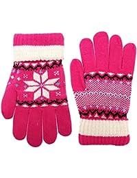 Ladies Fairisle Knitted Gloves Snowflake Design Acrylic Winter Warm