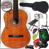Andaluza Guitare classique de style espagnol avec table d'harmonie en épicéa Pour débutants, confirmés et écoliers Avec kit complet de 8 pièces, avec accordeur LED, sacoche, trépied, pupitre et davantage
