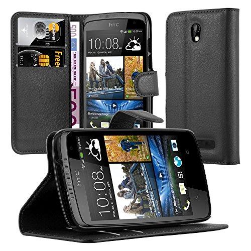 Cadorabo Hülle für HTC Desire 510 Hülle in Phantom schwarz Handyhülle mit Kartenfach und Standfunktion Case Cover Schutzhülle Etui Tasche Book Klapp Style Phantom-Schwarz