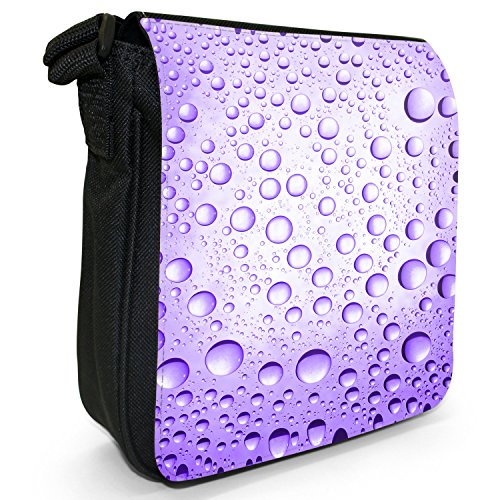 Farbige Wassertröpfchen Kleine Schultertasche aus schwarzem Canvas Wassertröpfchen Violett