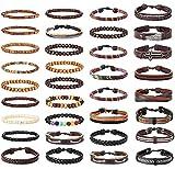 Milacolato 33-34pcs Mens Bracelet en Cuir Wrap Manchette Bracelets avec Chanvre...