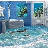 Lqwx Suelos de PVC autoadhesivo pato aves acuáticas 3d 3D jugando en el agua en el suelo del baño sala de pintura pintura de decoración-430cmX300cm