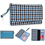 Kroo estuche billetera mitón para ALCATEL Onetouch Idol Mini/Pop C3/OT-992D multicolor Blue Houndstooth and Blue