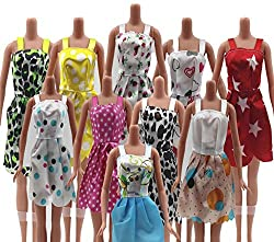 Doll Accessories - Beautiful Handmade Party Clothes Fashion Dress for Barbie Doll - (Size: 14CM approx, Random Pick 12 dresses/set)