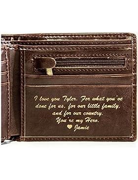 Negro Billeteras hombre MOMKEY, Billetera de cuero, Diseño de personalidad libre,El regalo perfecto para hombre...