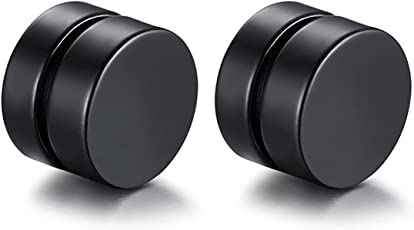 Sparkle Enterprise Wedding,Festive,Anniversary, Every day Collection Black Metal Barbell Magnetic Earring for Men