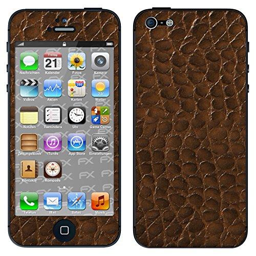 """Skin Apple iPhone 5 """"FX-Velvet-Black"""" Designfolie Sticker FX-Everglade-Brown"""