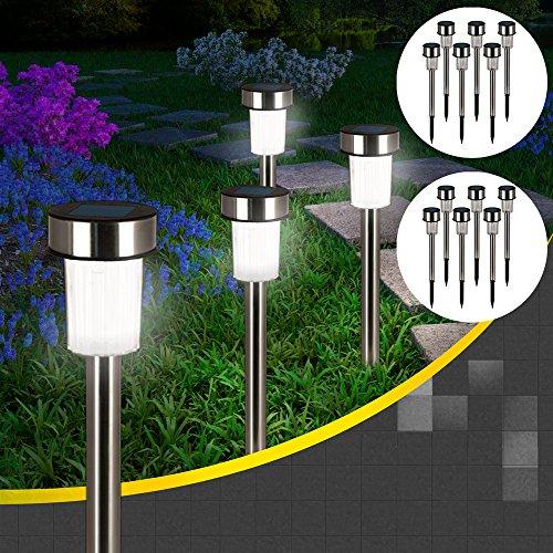 Produktbild LED Solarleuchte Gartenleuchte Solarlampe aus Edelstahl 16er Set