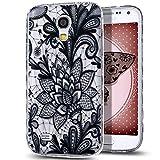 Galaxy S4Mini case, Nsstar antigraffio Thin Fit Crystal Clear rubber bumper in silicone cover in gel TPU morbido antiurto custodia protettiva per Samsung Galaxy S4Mini, pizzo nero fiore # 3